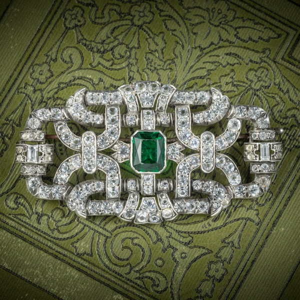 Art Deco Green Paste Brooch Silver Circa 1920 COVER