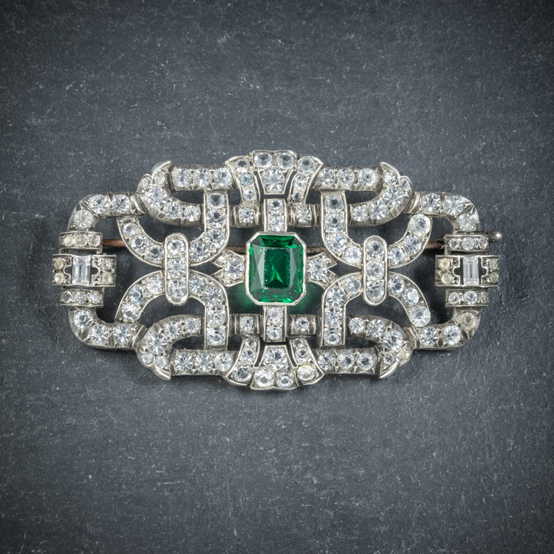 Art Deco Green Paste Brooch Silver Circa 1920 FRONT