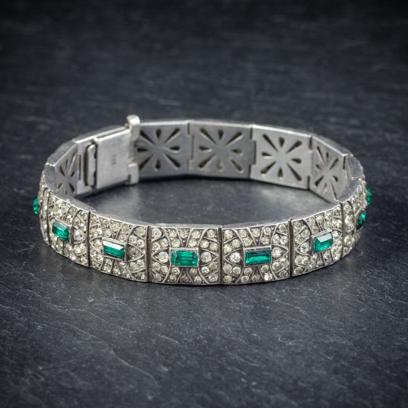 Art Deco Green Paste Stone Bracelet Sterling Silver Circa 1920