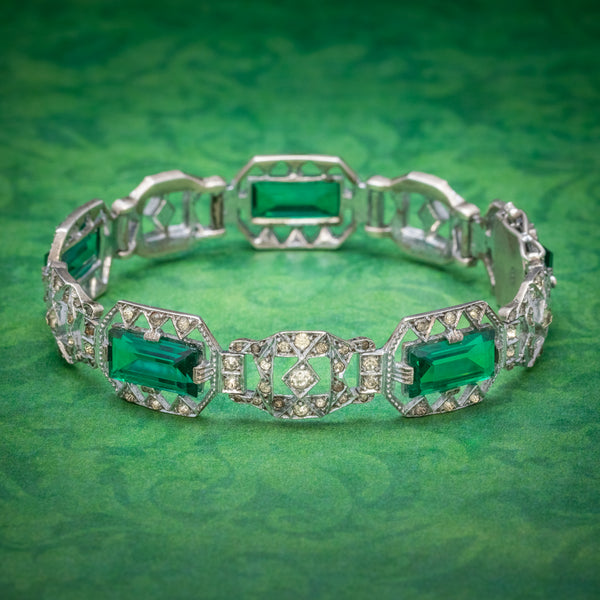 Art Deco Green Paste Stone Bracelet Sterling Silver Circa 1920 COVER