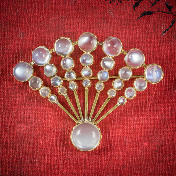 Art Deco Moonstone Fan Brooch 9ct Gold Circa 1920 COVER