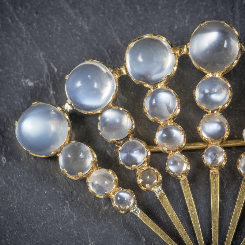 Art Deco Moonstone Fan Brooch 9ct Gold Circa 1920 MOONSTONE