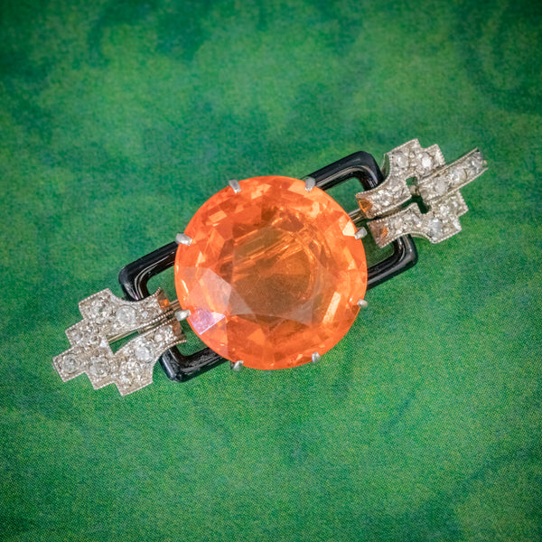 ART DECO NATURAL 10CT FIRE OPAL DIAMOND ONYX BROOCH 18CT GOLD CIRCA 1920 COVER