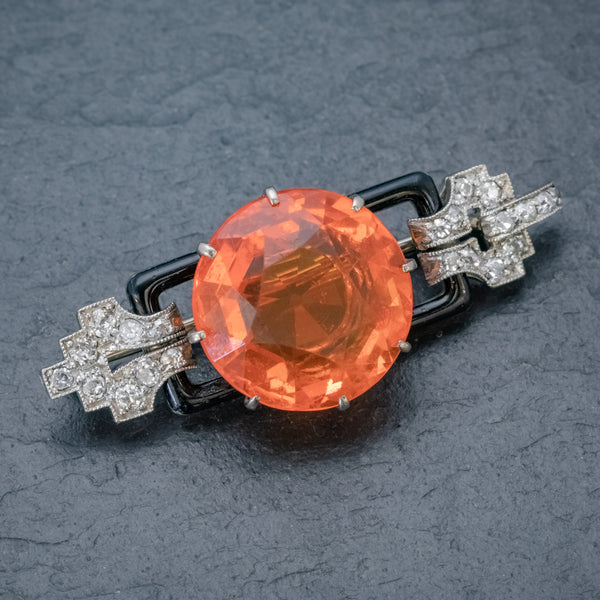 ART DECO NATURAL 10CT FIRE OPAL DIAMOND ONYX BROOCH 18CT GOLD CIRCA 1920 FRONT