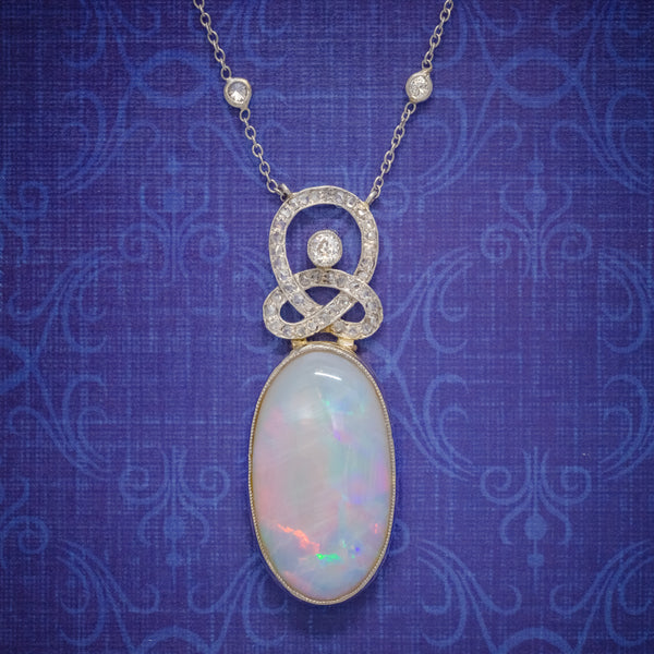 ART DECO OPAL DIAMOND PENDANT NECKLACE 18CT GOLD PLATINUM 15CT OPAL CIRCA 1930 BOXED cover