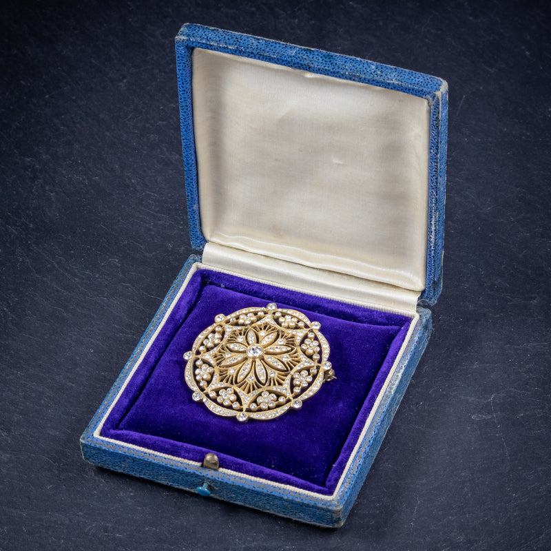 Art Deco Paste Stone Brooch 18ct Gold On Silver Circa 1930 box