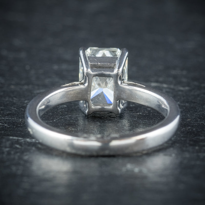 Art Deco Princess Cut Diamond Ring 18ct White Gold Circa 1930 BACK