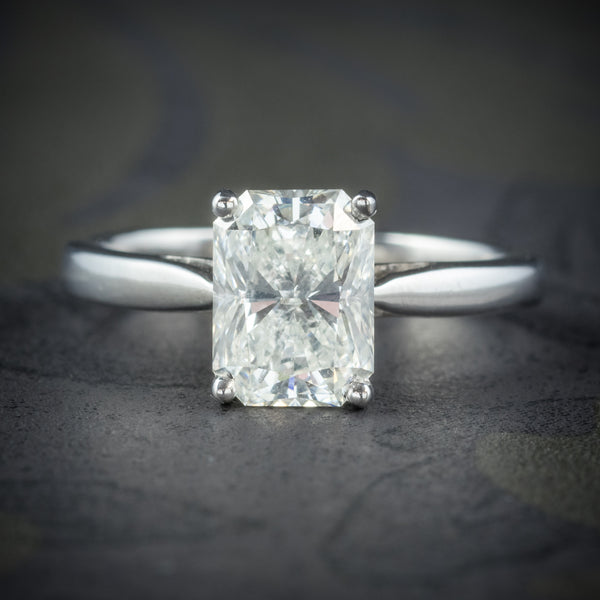 Art Deco Princess Cut Diamond Ring 18ct White Gold Circa 1930 COVER