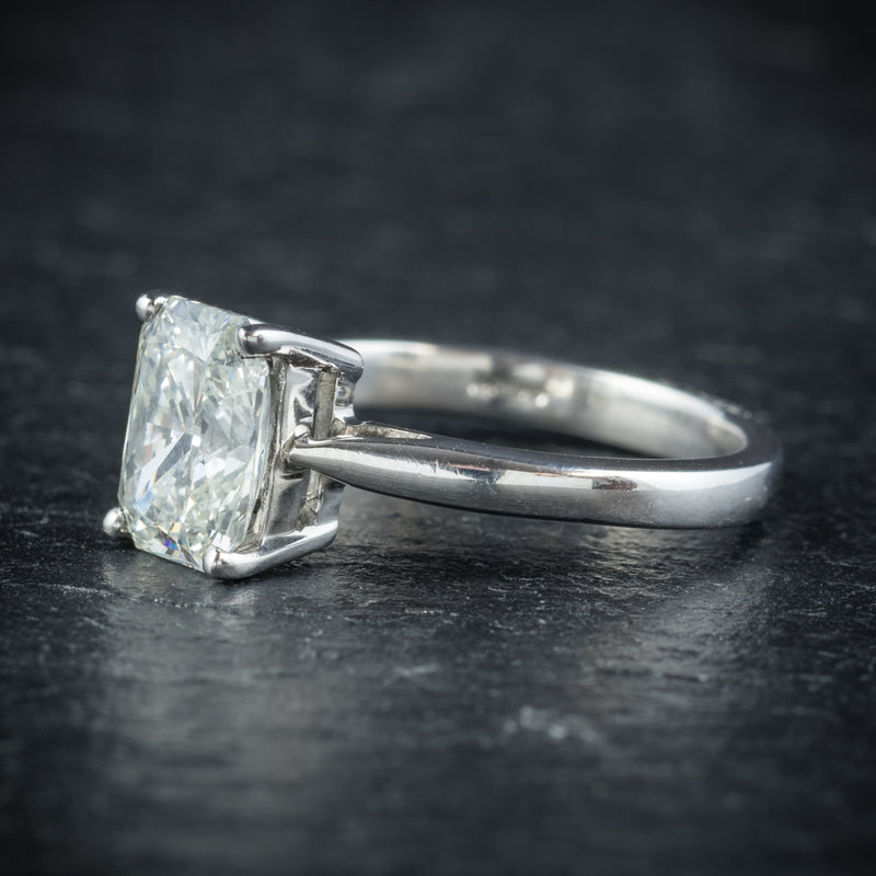 Art Deco Princess Cut Diamond Ring 18ct White Gold Circa 1930 SIDE