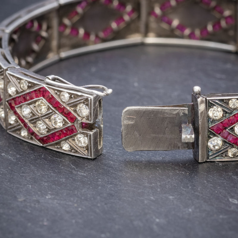 Art Deco Red Paste Stone Bracelet Silver Circa 1920 CLASP