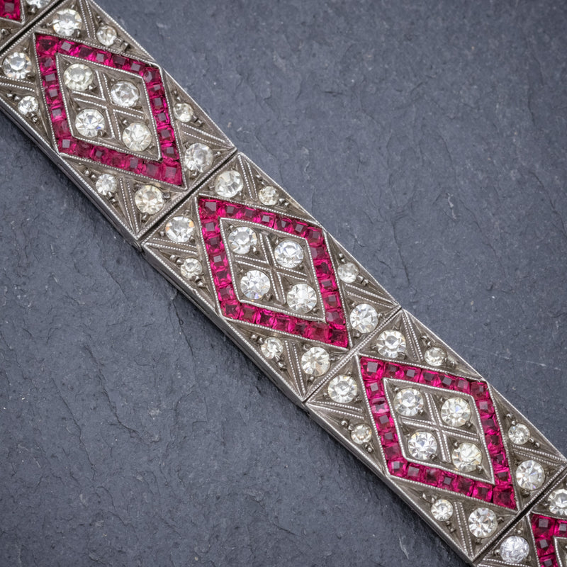 Art Deco Red Paste Stone Bracelet Silver Circa 1920 CLOSE