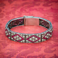 Art Deco Red Paste Stone Bracelet Silver Circa 1920 COVER