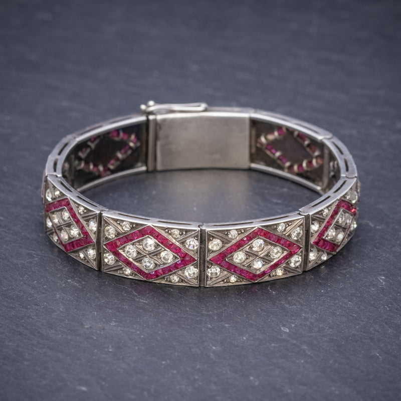 Art Deco Red Paste Stone Bracelet Silver Circa 1920 FRONT