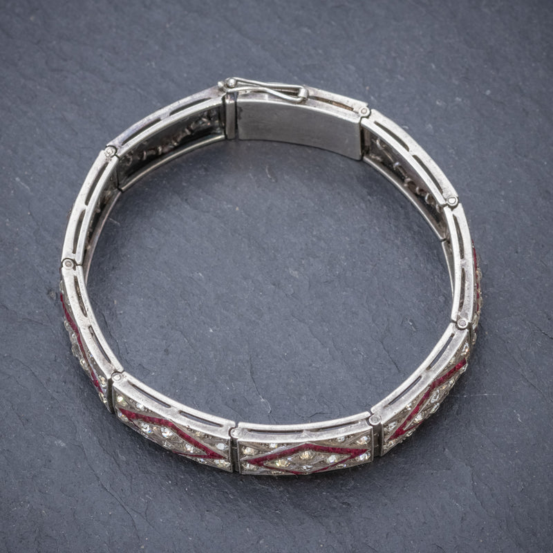 Art Deco Red Paste Stone Bracelet Silver Circa 1920 TOP