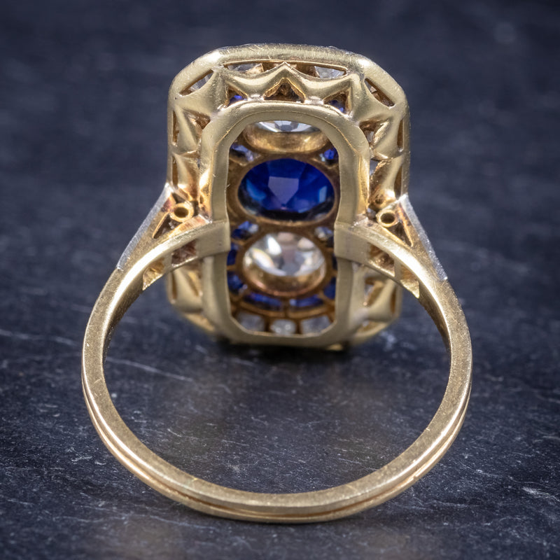 Art Deco Sapphire Diamond Cluster Ring 18ct Gold Circa 1920 BACK