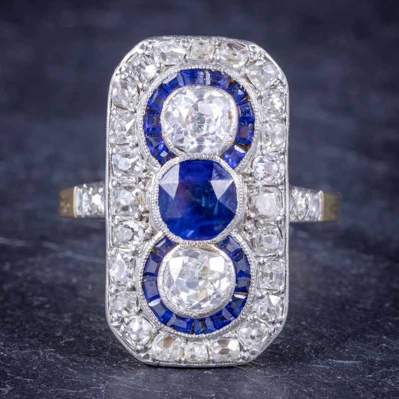 Art Deco Sapphire Diamond Cluster Ring 18ct Gold Circa 1920 FRONT