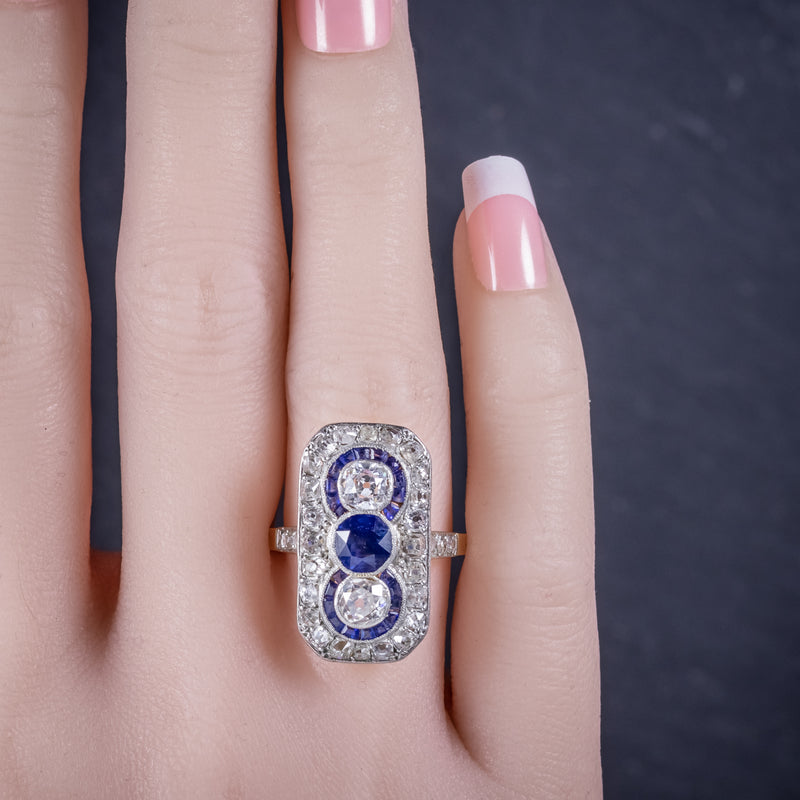 Art Deco Sapphire Diamond Cluster Ring 18ct Gold Circa 1920 HAND