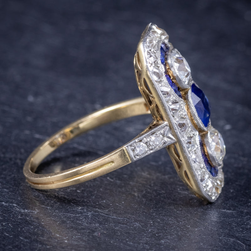 Art Deco Sapphire Diamond Cluster Ring 18ct Gold Circa 1920 SIDE2