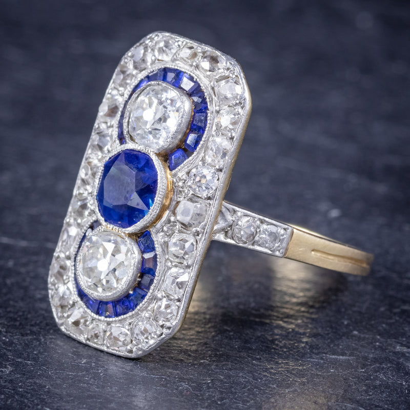 Art Deco Sapphire Diamond Cluster Ring 18ct Gold Circa 1920 SIDE