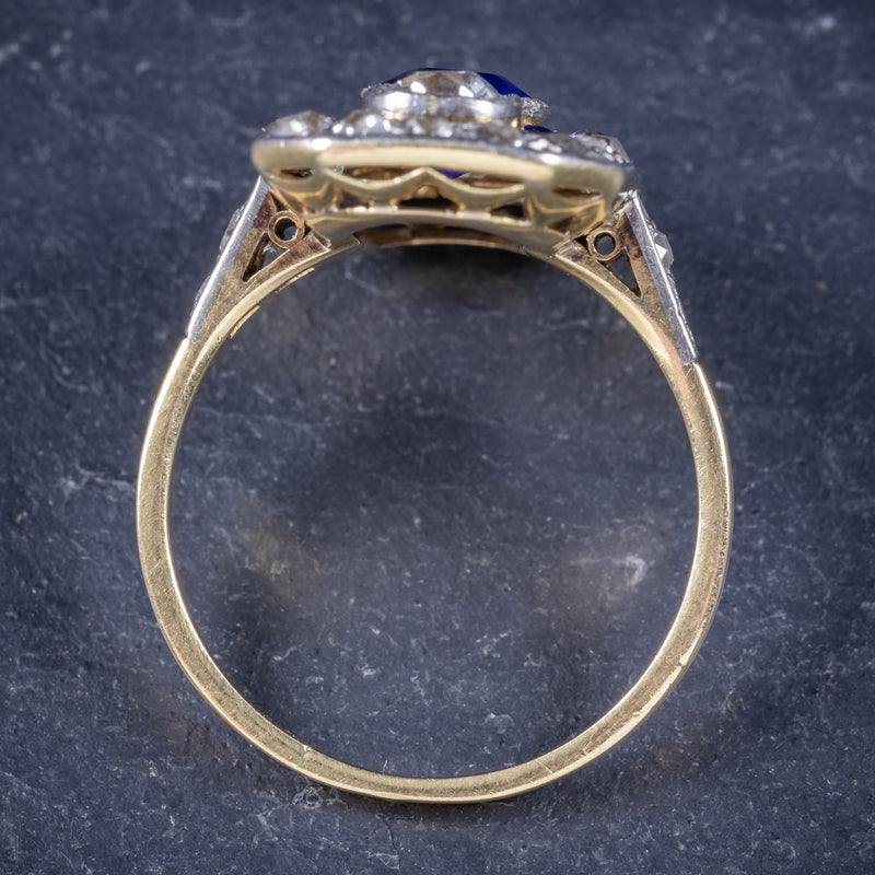 Art Deco Sapphire Diamond Cluster Ring 18ct Gold Circa 1920 TOP