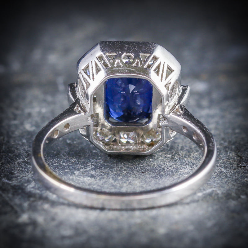 ART DECO SAPPHIRE DIAMOND RING 18CT WHITE GOLD BACK