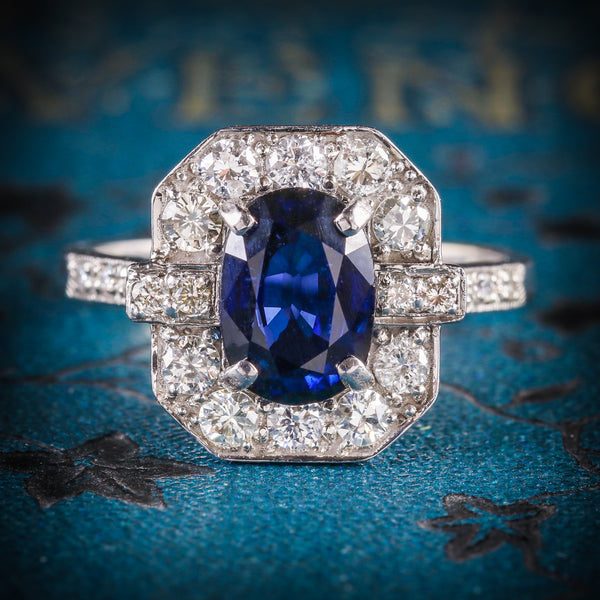 ART DECO SAPPHIRE DIAMOND RING 18CT WHITE GOLD COVER