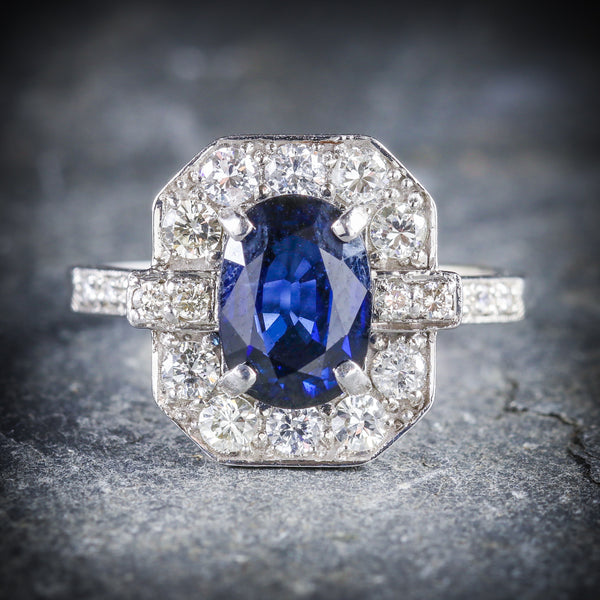 ART DECO SAPPHIRE DIAMOND RING 18CT WHITE GOLD FRONT