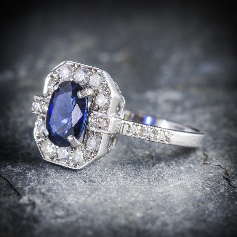 ART DECO SAPPHIRE DIAMOND RING 18CT WHITE GOLD SIDE