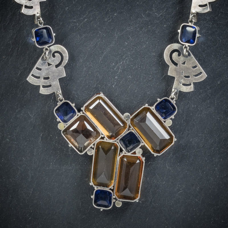 Art Deco Silver Necklace Blue Orange Paste Stones Circa 1930 back