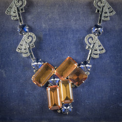 Art Deco Silver Necklace Blue Orange Paste Stones Circa 1930 cover