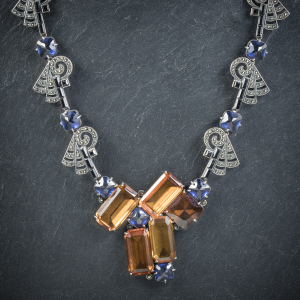 Art Deco Silver Necklace Blue Orange Paste Stones Circa 1930 neck