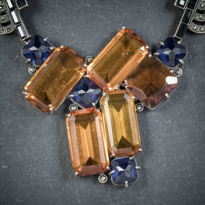 Art Deco Silver Necklace Blue Orange Paste Stones Circa 1930 pendant