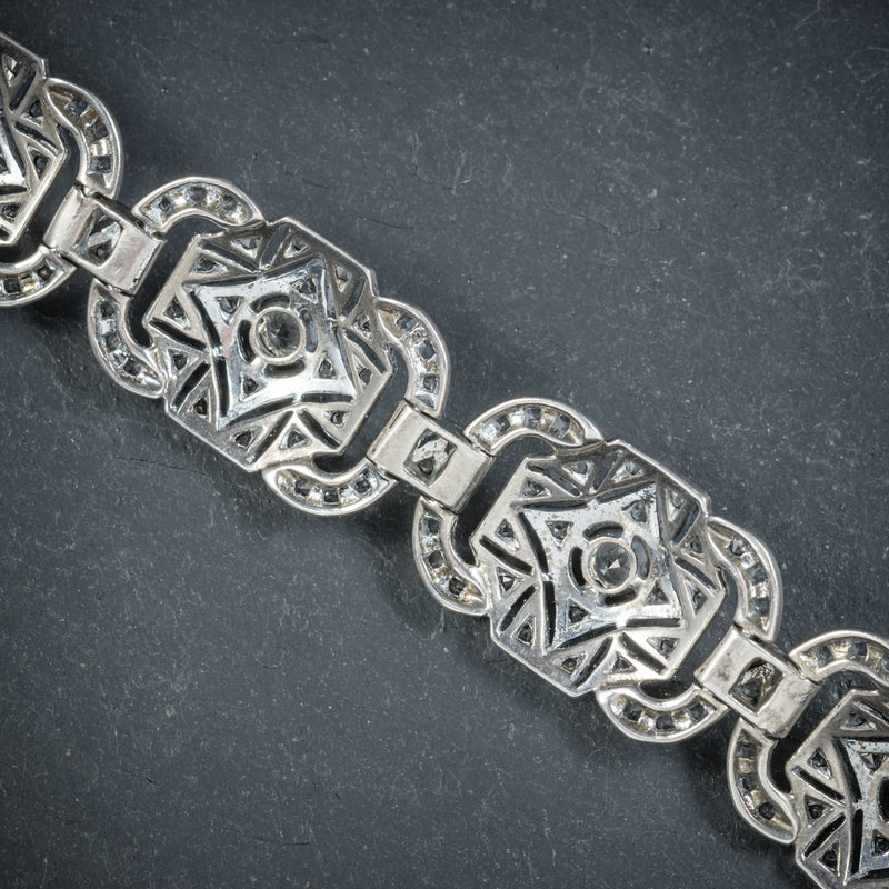 Art Deco Silver Paste Bracelet Circa 1925 BACK