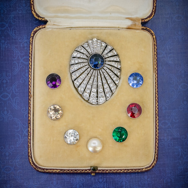Art Deco Silver Paste Clip Changeable Stones Boxed Circa 1930 COVER