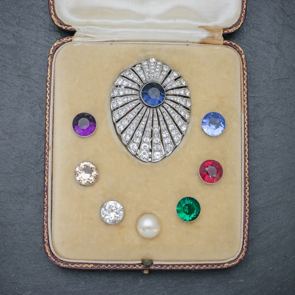 Art Deco Silver Paste Clip Changeable Stones Boxed Circa 1930 FRONT