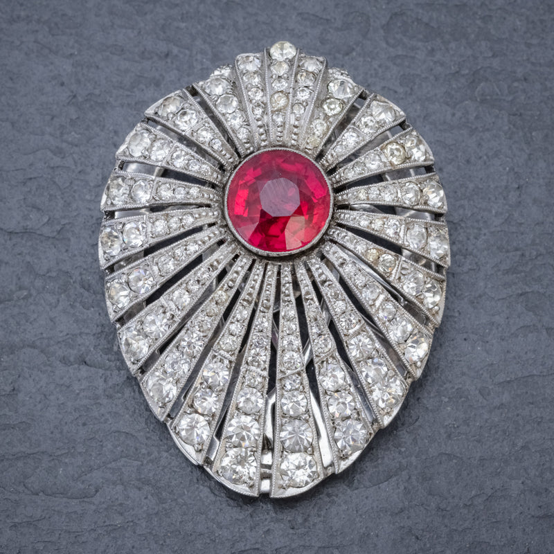 Art Deco Silver Paste Clip Changeable Stones Boxed Circa 1930 FRONT RUBY