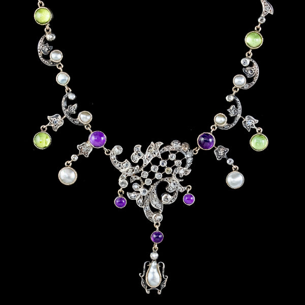 Antique Art Nouveau Suffragette Garland Necklace Diamond Pearl Amethyst Peridot Silver Circa 1915