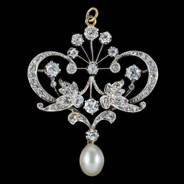 Antique Edwardian Belle Epoch Diamond Pearl Pendant Circa 1905
