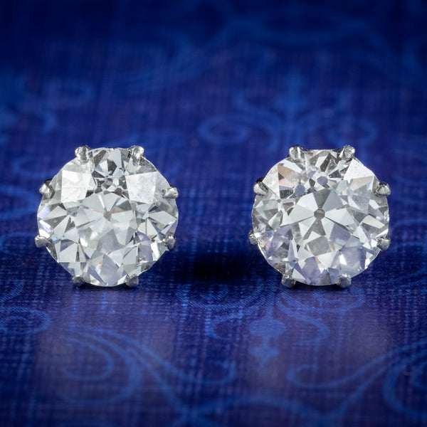 Antique Edwardian Diamond Stud Earrings 3.40ct Diamond Circa 1901 With Cert