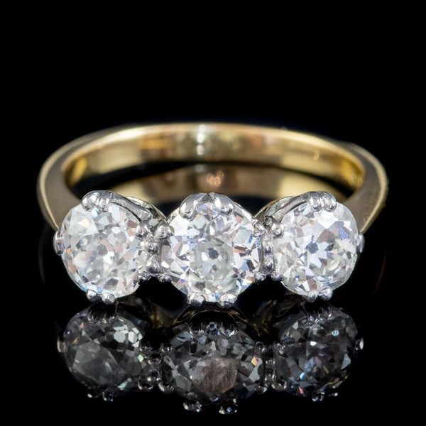 Antique Edwardian Diamond Trilogy Ring 18ct Gold Platinum 2.30ct Of Diamond Circa 1905