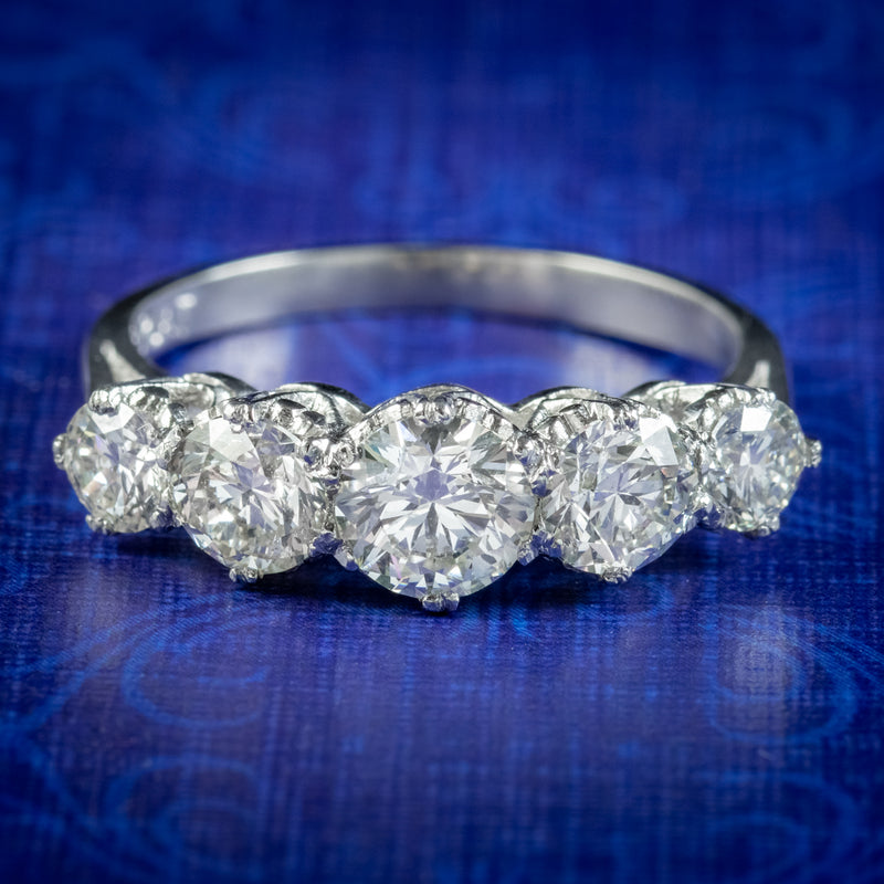 Antique Edwardian Five Stone Diamond Ring 2.36ct Diamond Circa 1905