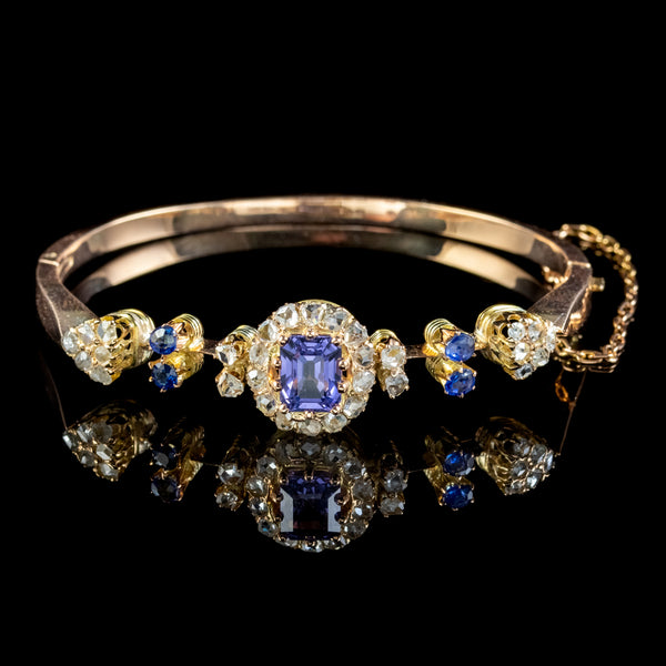 Antique Victorian Blue Spinel Diamond Bangle Circa 1900 2.7ct Spinel With Cert