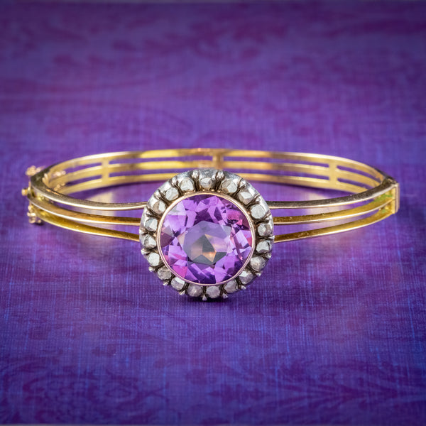 Antique Victorian Amethyst Diamond Bangle 15ct Gold Circa 1880