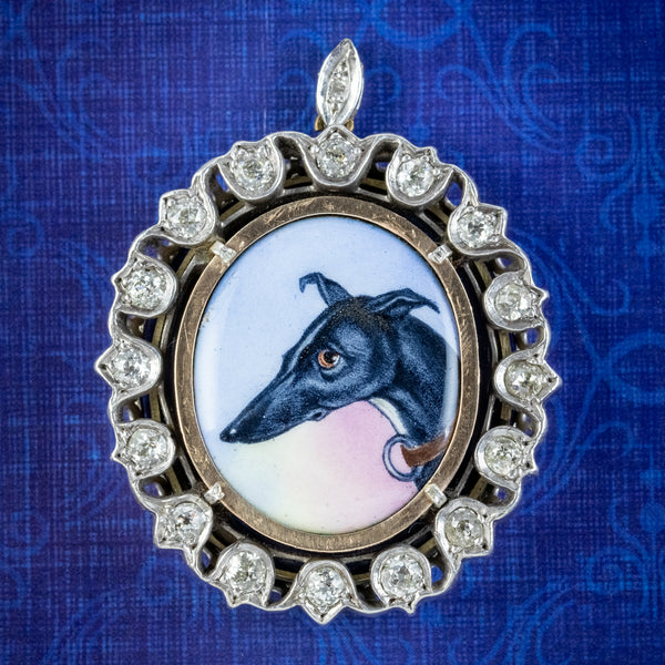 ANTIQUE VICTORIAN DIAMOND GREYHOUND LOCKET PENDANT SILVER CIRCA 1870