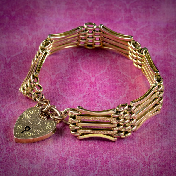 ANTIQUE VICTORIAN GATE BRACELET 9CT GOLD HEART PADLOCK CIRCA 1900