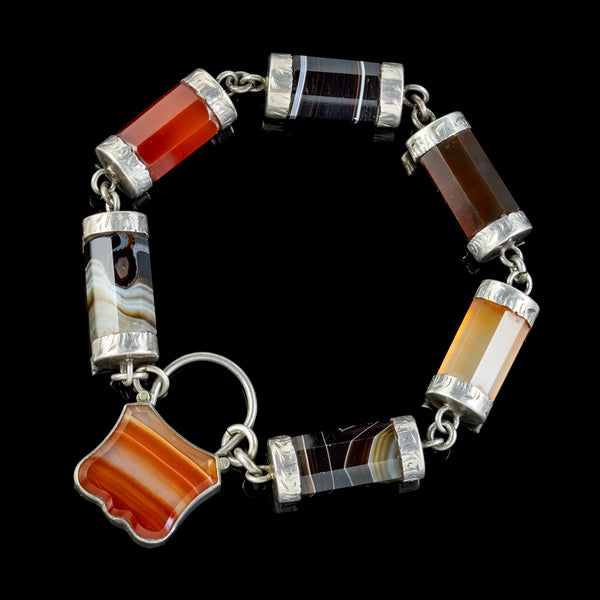 ANTIQUE SCOTTISH AGATE PADLOCK BRACELET SILVER CIRCA 1860