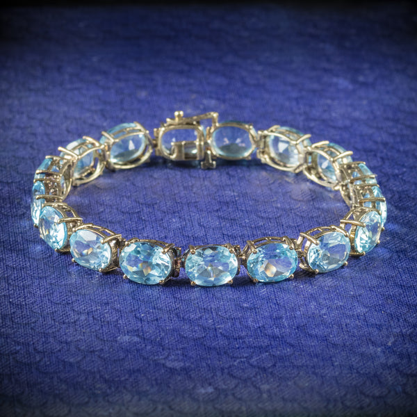 Antique Art Deco Blue Topaz Bracelet 10ct Gold Circa 1920 cover
