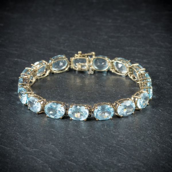 Antique Art Deco Blue Topaz Bracelet 10ct Gold Circa 1920 front