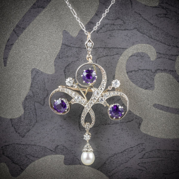 Antique Edwardian Amethyst Pendant Necklace Diamond Platinum Brooch Circa 1910 COVER