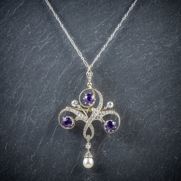 Antique Edwardian Amethyst Pendant Necklace Diamond Platinum Brooch Circa 1910 FRONT